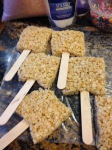 rice krispie treats on a stick