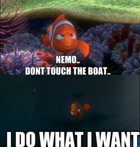 nemo don't touch the boat