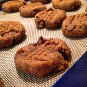 Flourless chickpea peanut butter chocolate chip cookies