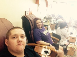 Mother and son pedicures