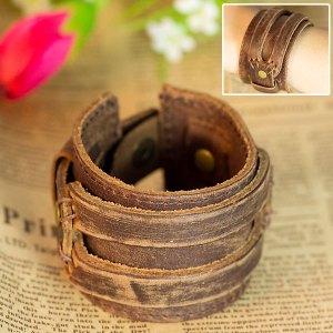 Stylist leather belt flat bracelet