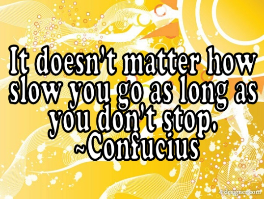 It doesn't matter how slow you go, as long at you don't stop; at Did That Just Happen Blog